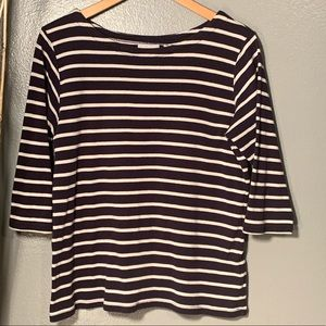 L.L Bean navy and white top, 3/4 sleeve Size Large